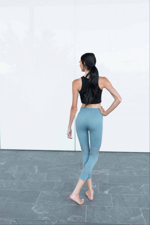 Grey Active Vented Mesh Design Capri Fitness Leggings Musa