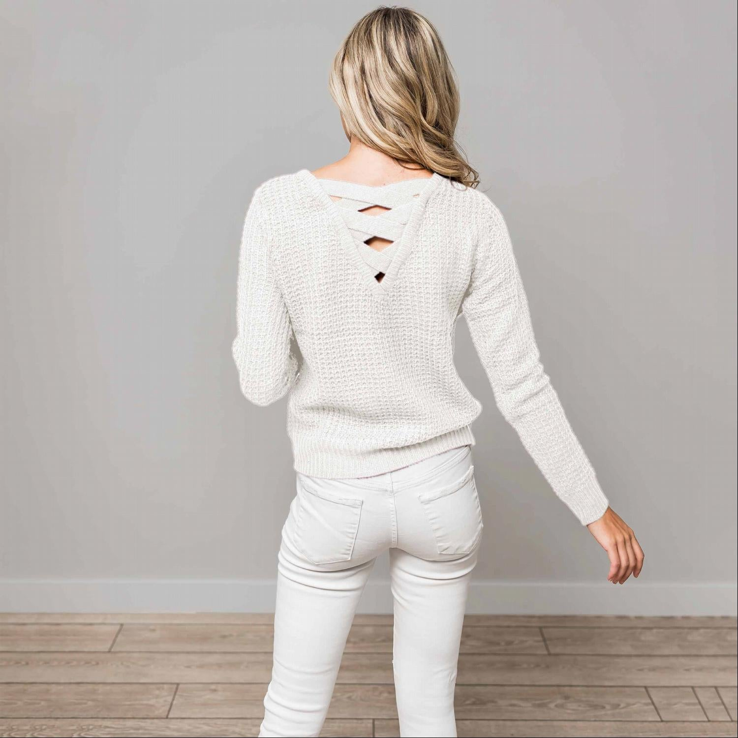 Ivory Solid Lace Up Back Knit Sweater Top
