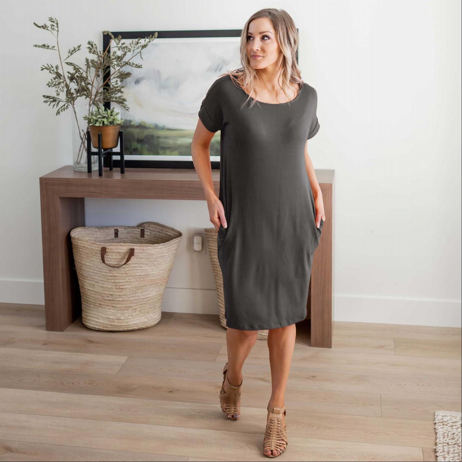 Ash Grey Rolled Short Sleeve Round Neck Dress