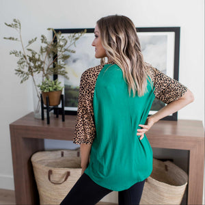 Forest Green Leopard Raglan Sleeve Patch Pocket Top
