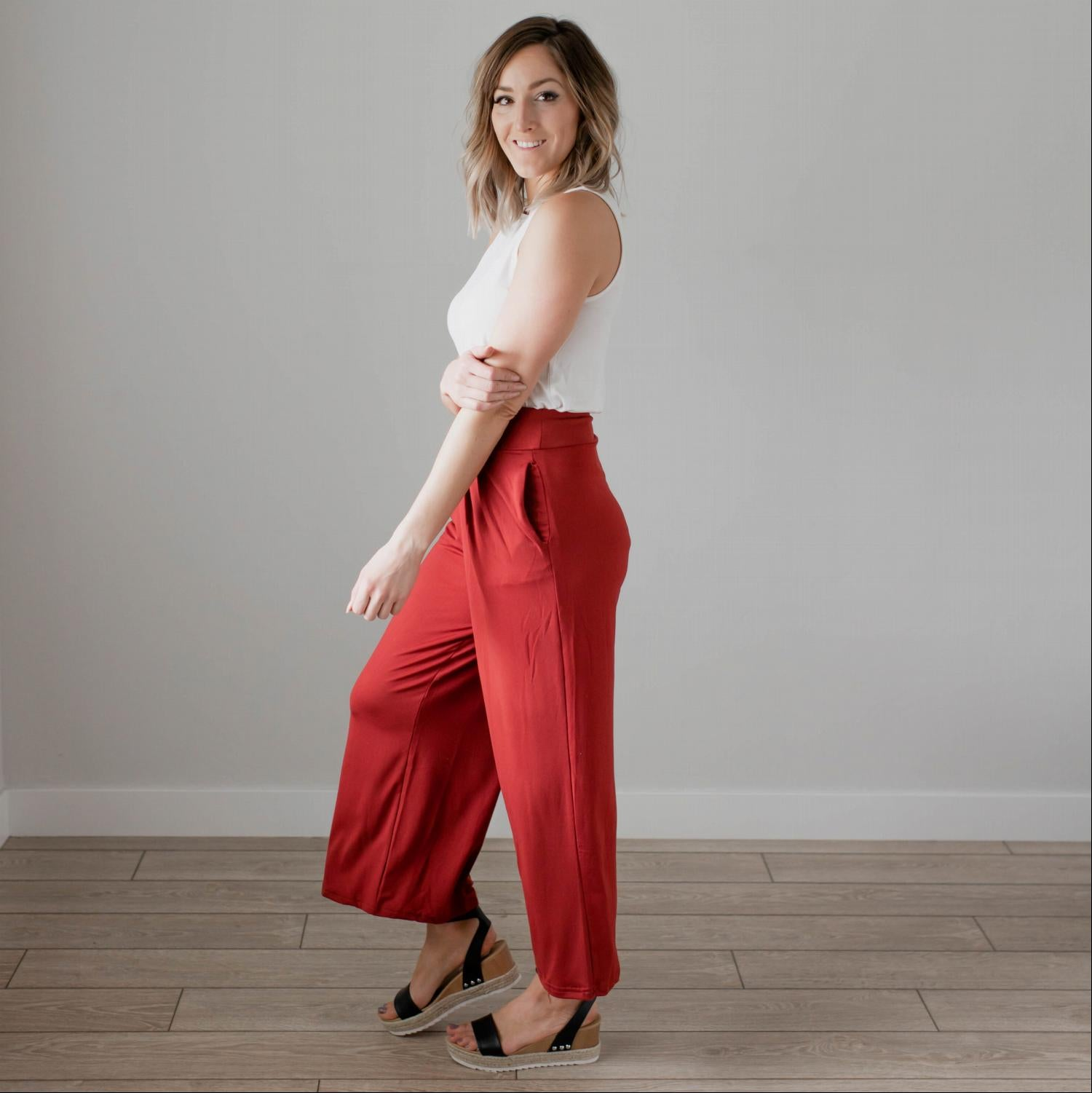Rust Soft Brushed Wide Legged Palazzo Pants