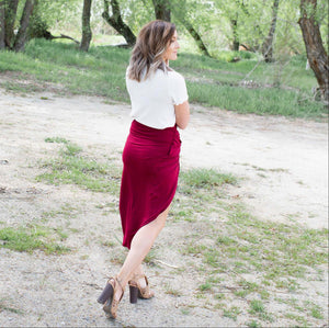 Burgundy Knotted Tulip Skirt