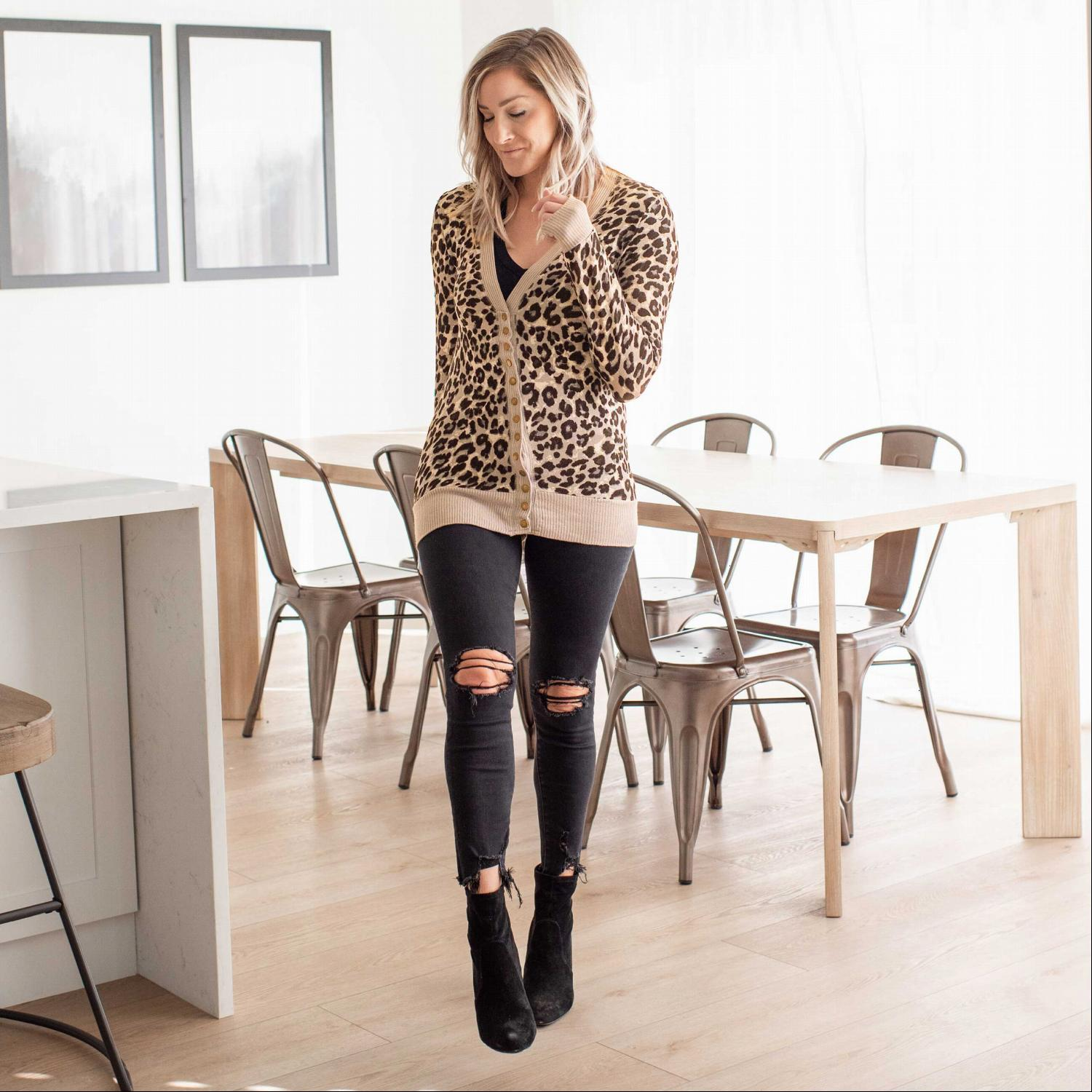 Tan Brown Leopard Print Snap Button Sweater Cardigan
