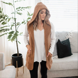 Deep Camel Women's Fuzzy Sherpa Vest Cardigan Hooded Open Front Sleeveless Solid Winter USA