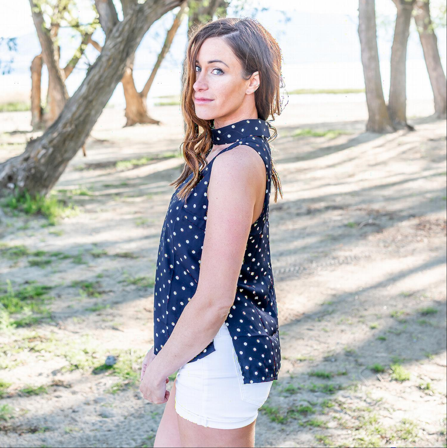 Navy Polka Dot Mock Neck Sleeveless Blouse