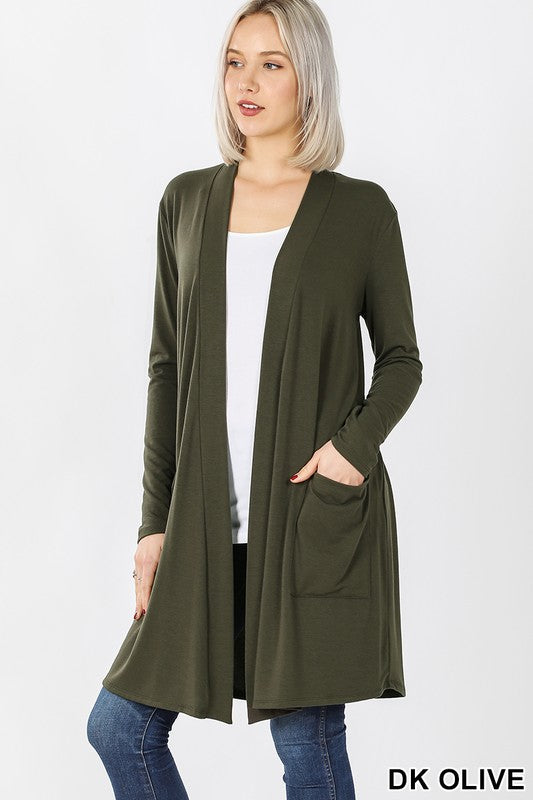 Dark Olive Women's Long Cardigan Slouchy Pocket Long Sleeves Open Front Solid Winter USA