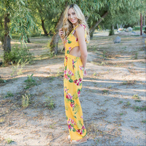 Yellow Tropical Tie Back Jumpsuit