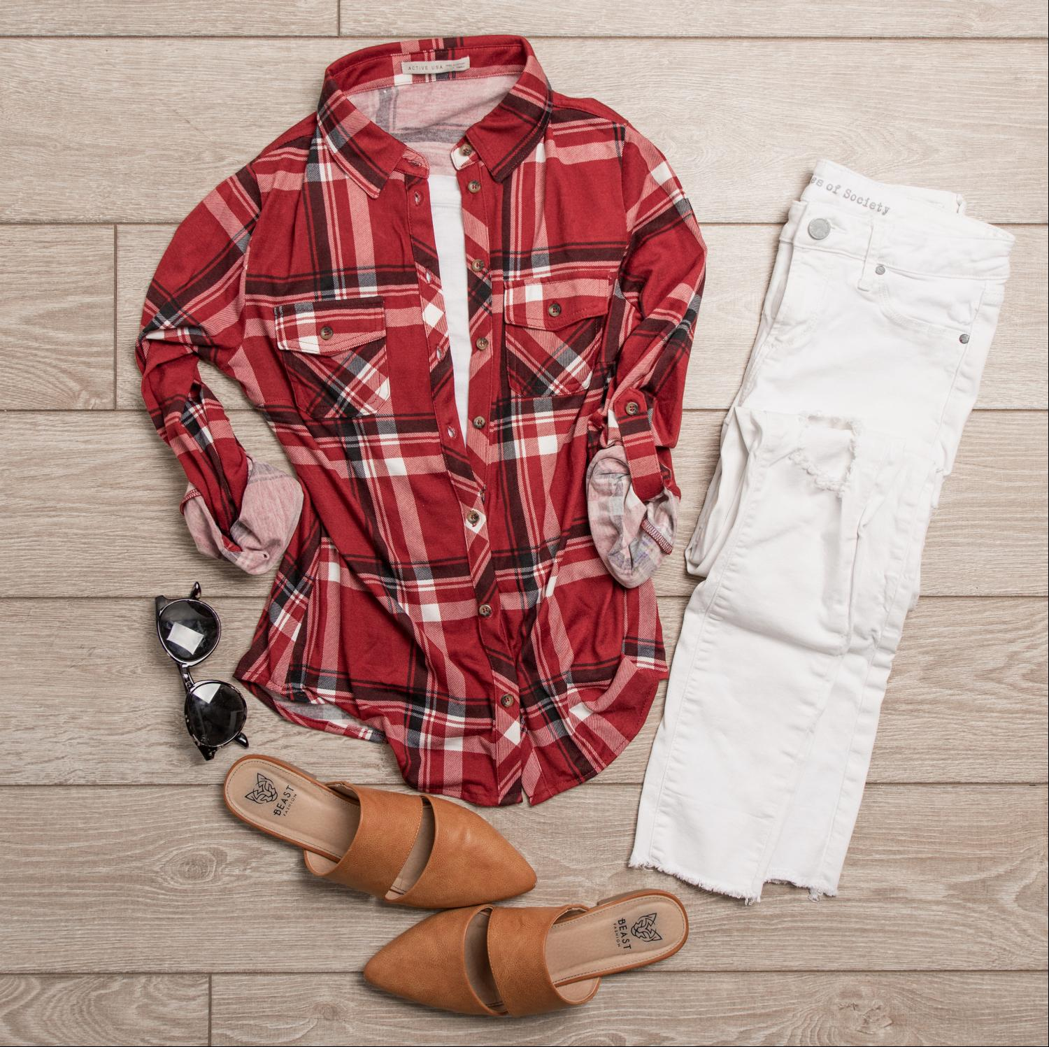 Red ROLL UP SLEEVE FRONT POCKET DETAIL PLAID CHECK PRINT STRETCH KNIT SHIRTS