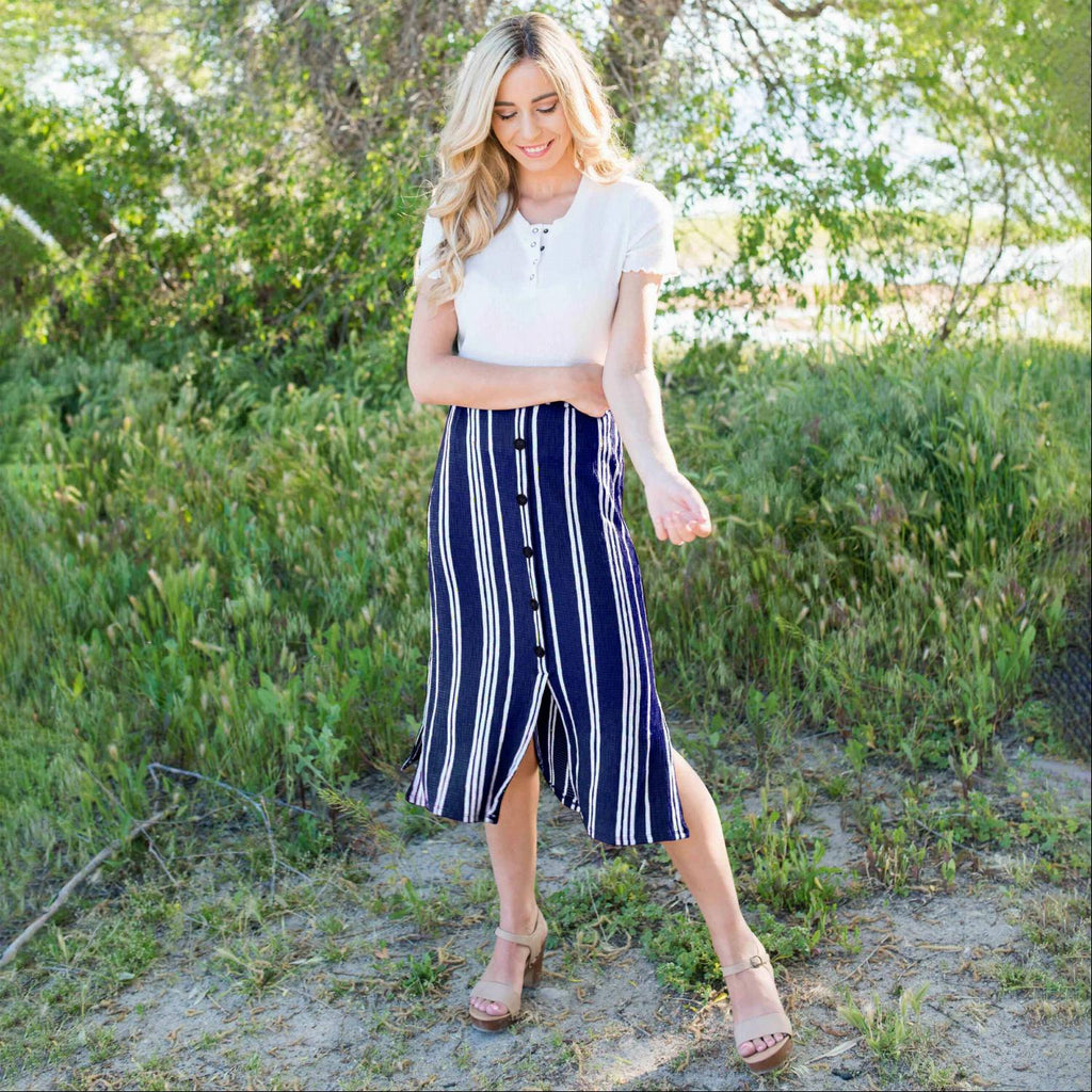 Navy Linen Buttoned Paperbag Midi Skirt