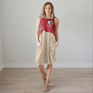 Wine Sleeveless Floral Dress