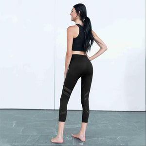Black Active Vented Mesh Design Capri Fitness Leggings Musa