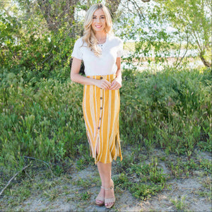 Yellow Linen Buttoned Paperbag Midi Skirt