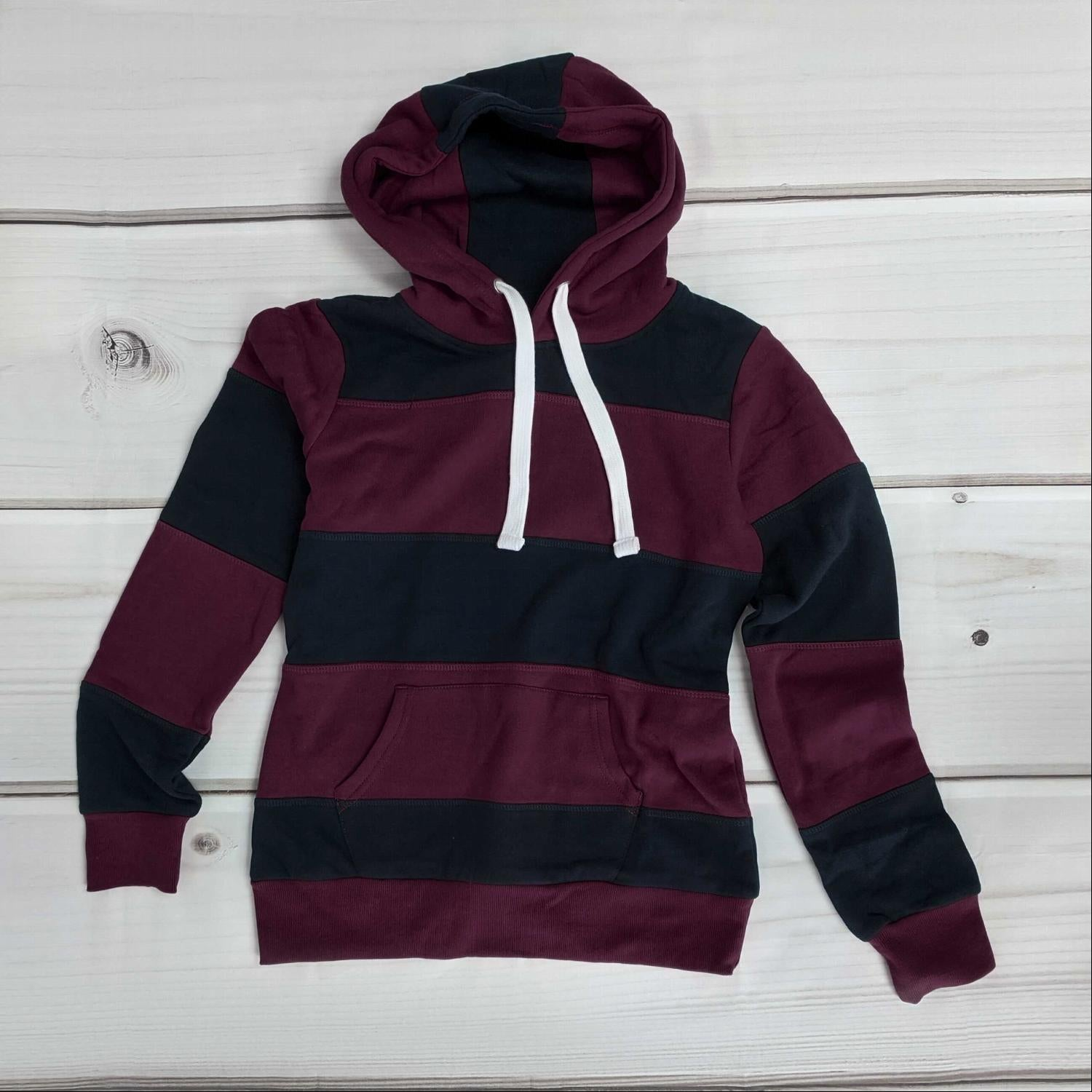 Plum Color Block Soft Fleece Pullover Hoodie