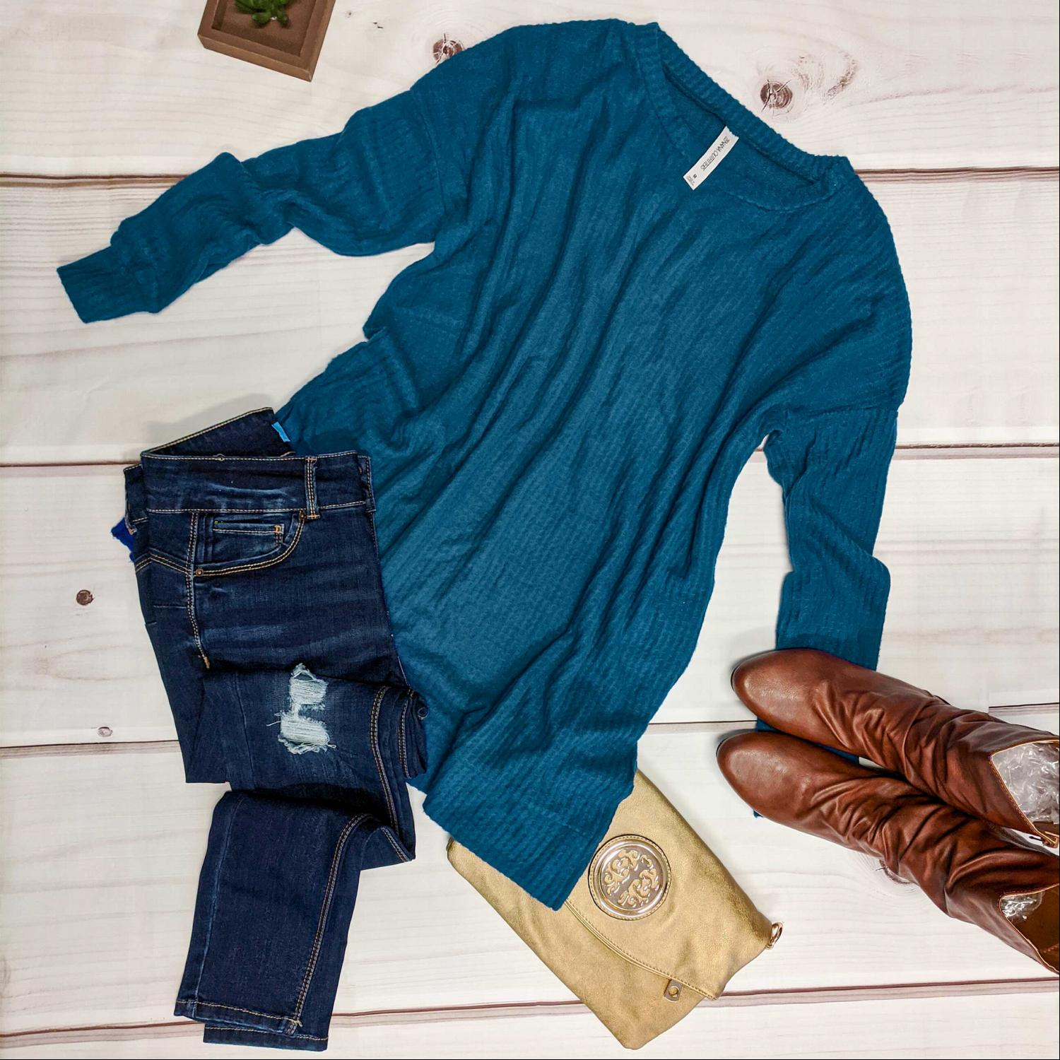 Teal Long Crew Neck Waffle Knit Sweater