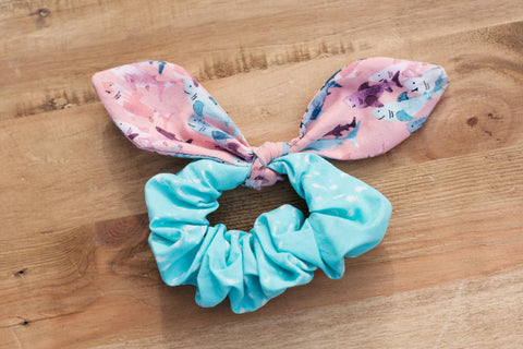Pink and Aqua Shark scrunchie