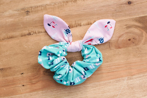 Pink Sailboat Scrunchie