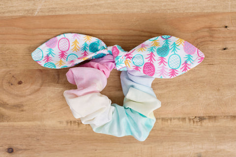 Pineapple and Cotton Candy Scrunchie