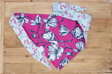 Load image into Gallery viewer, Magnolias on Magenta Dog Bandana