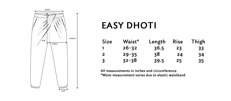 Size chart for the easy dhoti