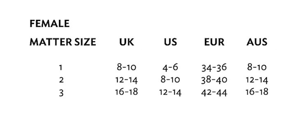 MATTER size guide in UK, US, Europe, Australia sizes for female