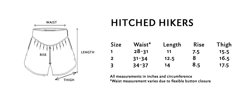 Size chart for the hitched hikers shorts