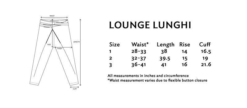 Size chart for the lounge lunghi