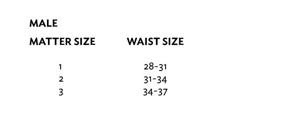 MATTER size guide in UK, US, Europe, Australia sizes for male