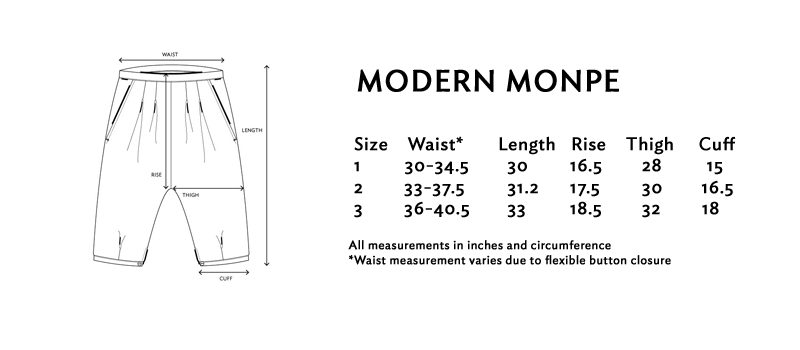 Size chart for the modern monpe