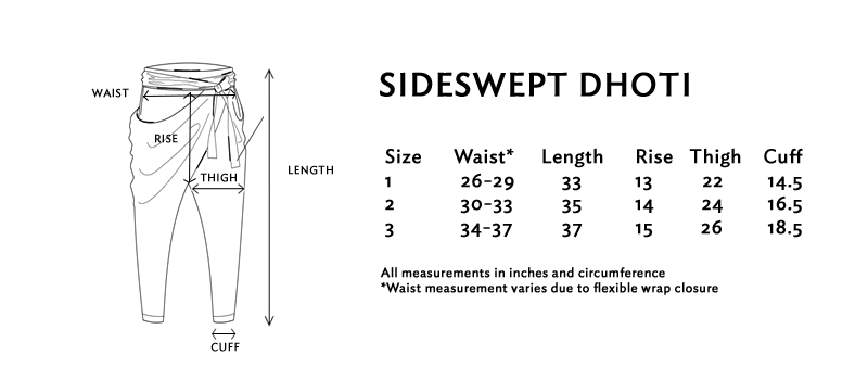 Size chart for the sideswept dhoti pants