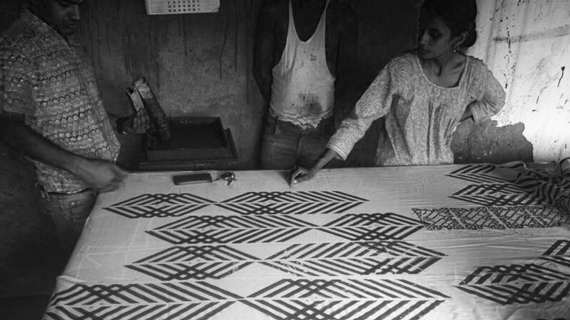 Artisans blockprint leharia on white fabric