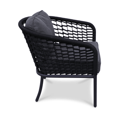 Catania Armchair with Charcoal Olefin Cushions and Black Olefin Woven Rope