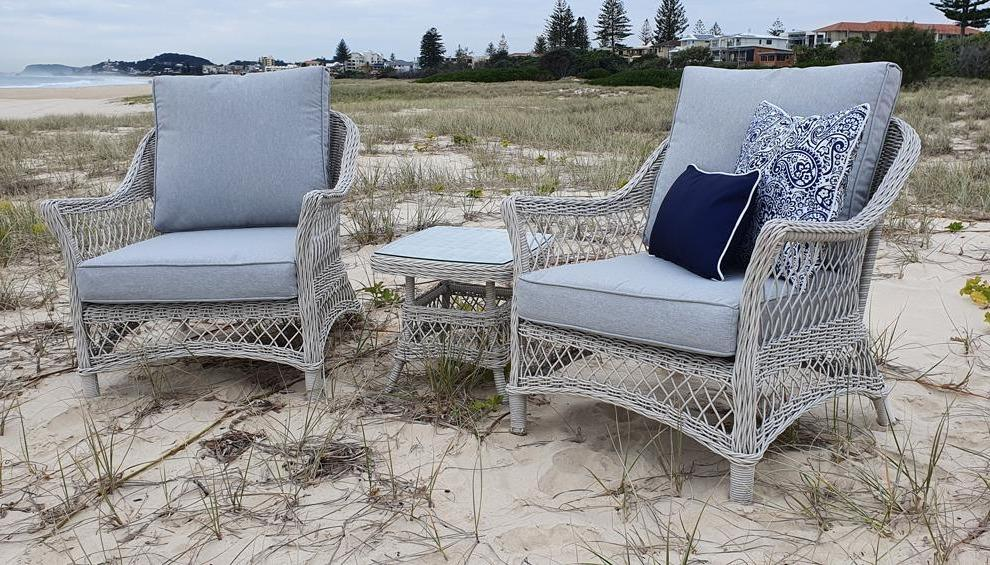 Hamptons 3pc Occasional Set in Surfmist Wicker and Dune Spunpoly Cushions