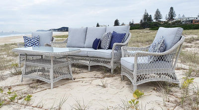 Hamptons 3 Seater with 2 x Armchairs, Coffee & Side Table in Surfmist Wicker and Dune Spunpoly Cushions