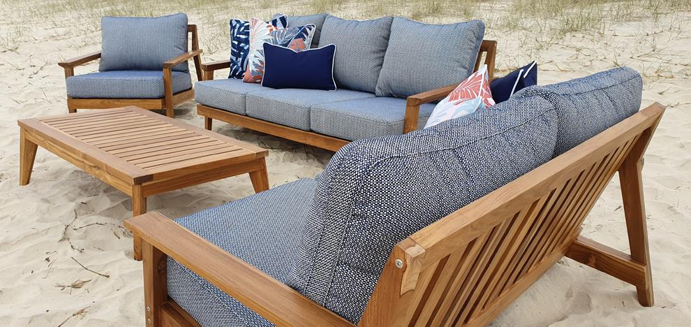 Riviera 3 Seater, 2 Seater, Armchair & Coffee Table in Premium Natural Teak and Navy Check Sunproof All Weather Fabric