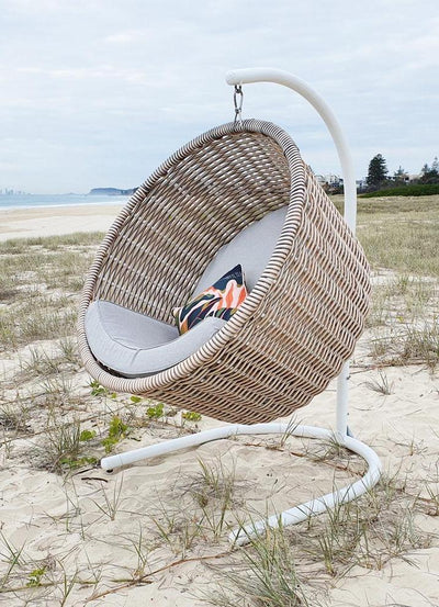 Providence Premium Hanging Chair in Mocha Mist Rattan and Mountain Ash Sunproof Olefin Fabric