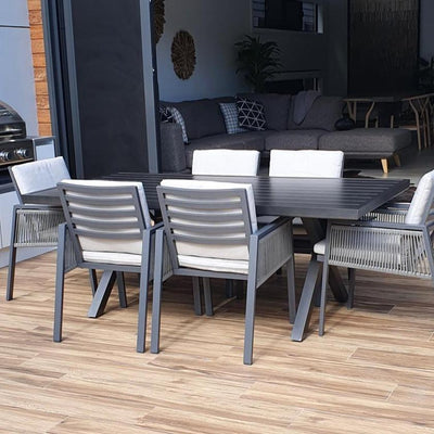 Noosa in Gunmetal & Mondello 7pc Dining Suite