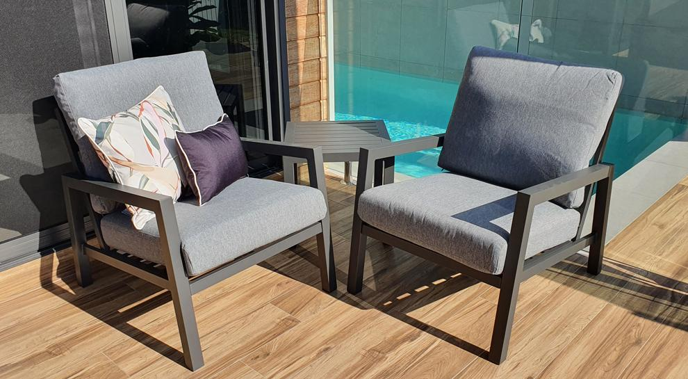 San Sebastian 3pc Occasional Set in Gunmetal with Platinum Olefin Cushions