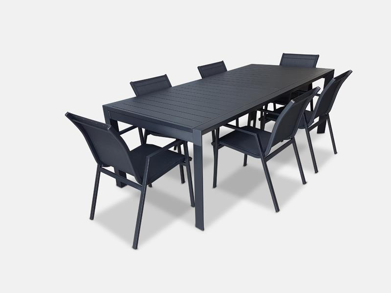 Morocco Grey/White Extension & Black Morocco 7pc Dining Suite