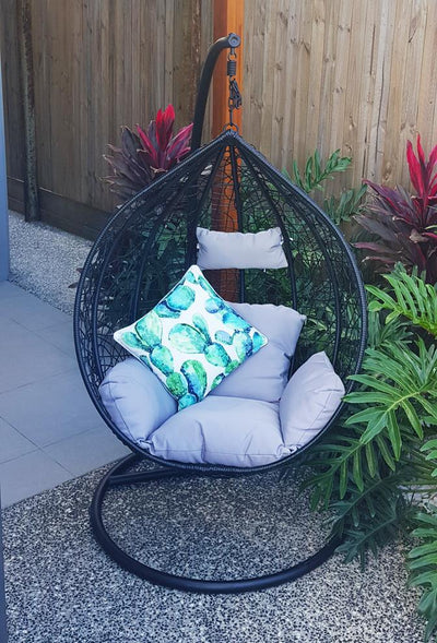 Morocco Large Tear Drop Hanging Chair in Black with Cement Cushions