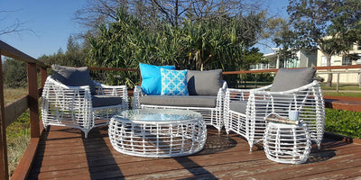 Barbados 2 Seater, 2 x Armchairs, Coffee & Side Table in Arctic White Wicker and Pebble Olefin Cushions