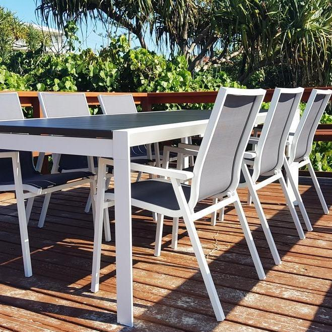 Morocco Grey/White Extension & Maldives with Grey Sling 7pc Dining Suite