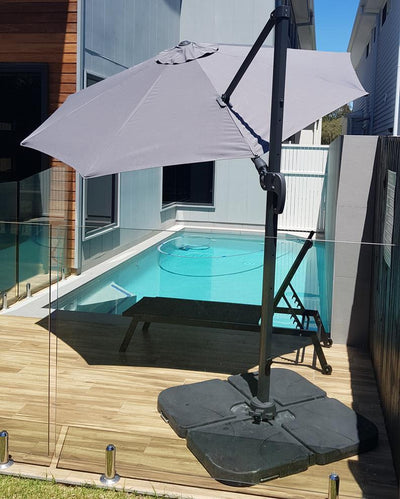 Cascade 3m Octagonal Premium Outdoor Umbrella in Charcoal Olefin Fabric  and Aluminium Frame