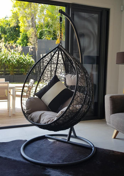 Morocco Medium Tear Drop Hanging Chair in Black with Cement Cushions