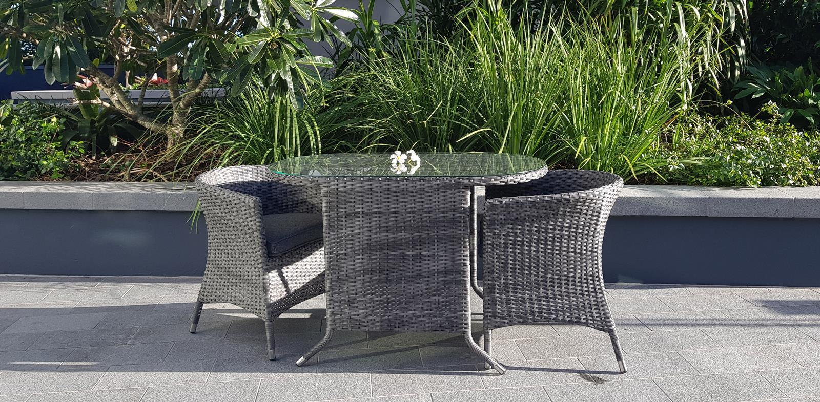 Torquay Smart Occasional 3 Pce Set in Monument Weave and Charcoal Spun Poly Cushions