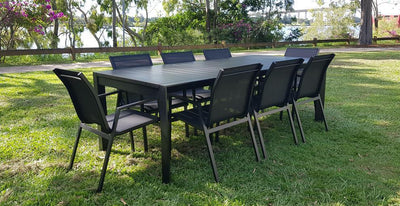 Morocco 7pc dining suite (Extension Dining Table (230cm - 345cm) with 6 x Morocco Dining Chair in Black Aluminium)
