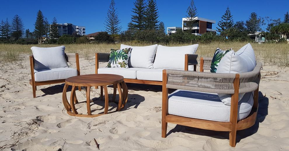 Pacific 3 Seater, 2 Seater, Armchair & Coffee Table in Premium Natural Teak and Stone Check Sunproof All Weather Fabric