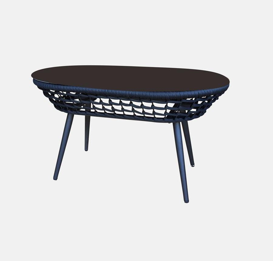 Catania Coffee Table In Black Olefin Woven Rope And Glass Top