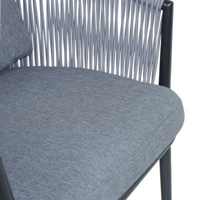 Aspen Dining Chair with Oyster Olefin Rope Accent and Platinum Olefin Cushions