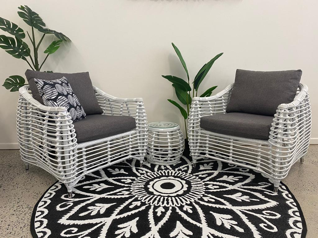 Barbados 3pc Occasional Set in Arctic White Wicker and Pebble Olefin Cushions