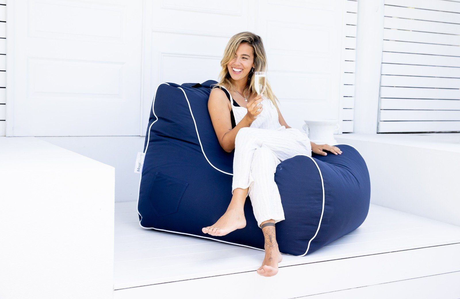 Outdoor Bean Bag - Bora Bora Chair UV Navy in 100% Olefin